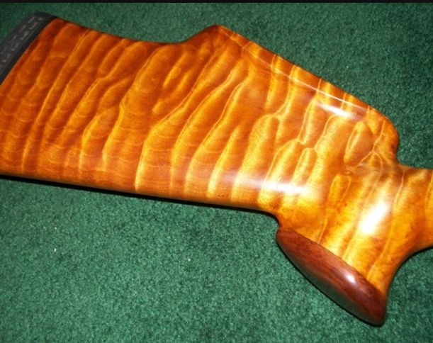 Tiger maple hunting rifle stock wood finishes