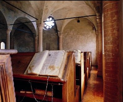Italy: The Biblioteca Malatestiana in Cesena, near Rimini in Northern Italy is without doubt the best-preserved example of what a late Medieval library looked like.
