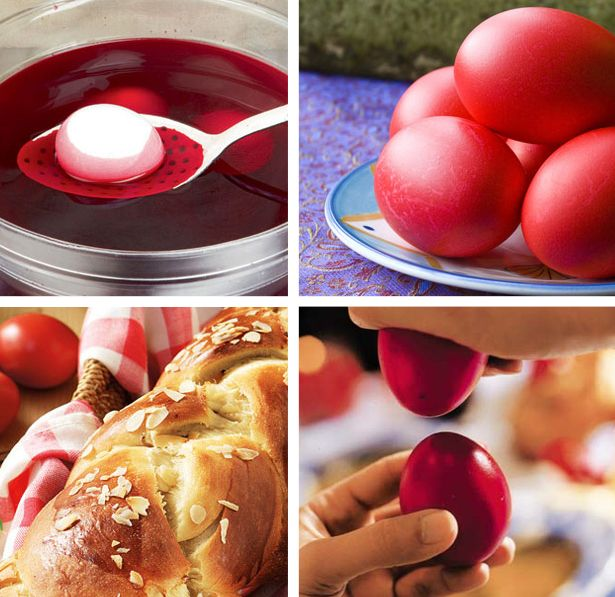 "Easter traditions. On Holy (or Great) Thursday preparations begin when the traditional Easter bread, ""tsoureki"" is baked, and eggs are dyed red. Red is the color of life as well as a representation of the blood of Christ shed on the Cross and the hard shell of the egg symbolises the sealed Tomb of Christ."
