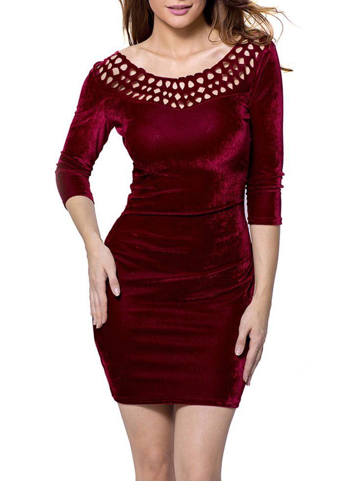 Round neck short sleeve hollow out plain bodycon dresses wholesale shows
