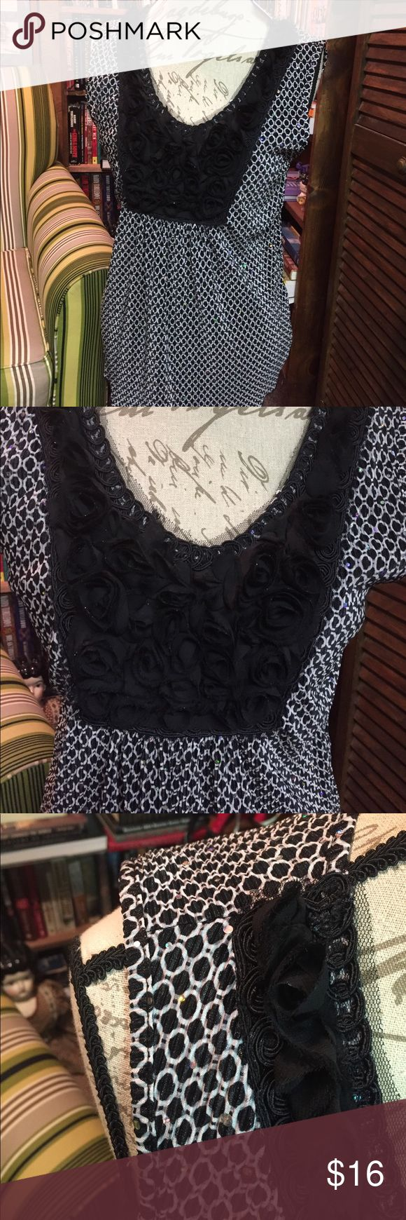 Dressbarn black and white tank w/ silver sequins S Size S tank NWT black and white with silver sequins. Dress Barn Tops