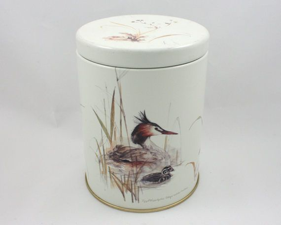 Vintage round bird tin, grebe, baby duck, brown fall leaves, cottage style kitchen, gray grey shabby chic, bathroom vanity, made in England from SmilingCatVintage