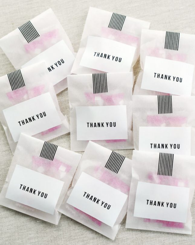 These thank-you bags are an adorable and easy wedding favor for your guests.