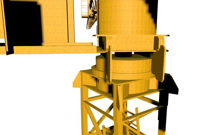 Modèle 3D d'une grue à tour - La couronne de la grue