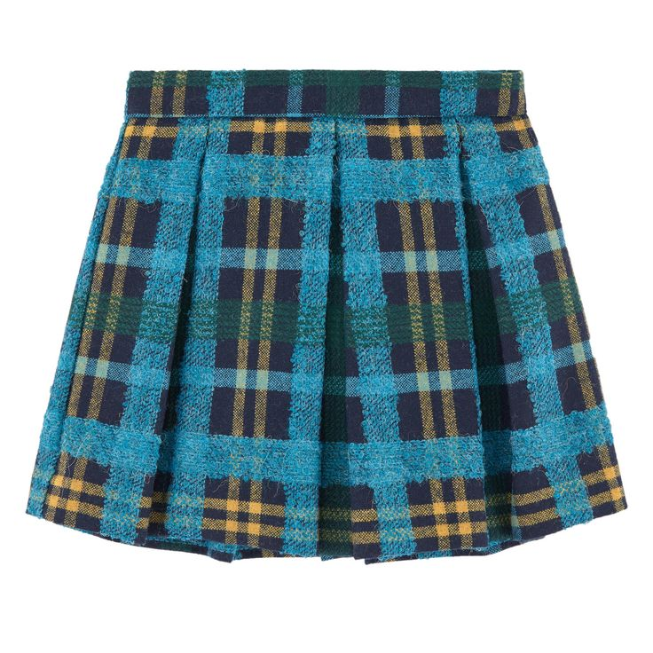 Right side: Wool blend Synthetic lining Skirt: Trapeze cut Box pleats on the front and in the back Adjustable waistband with an inner buttoned elastic strap  Invisible zipper at the back Tartan print - $ 186,44