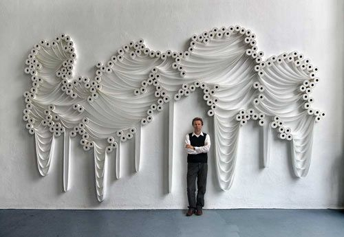 Who would think that something so, um, ordinary could become something so beautiful? Turkish-born artist Şakir Gökçebağ turns your average rolls of toilet paper into beautiful, and downright elegant, installations.