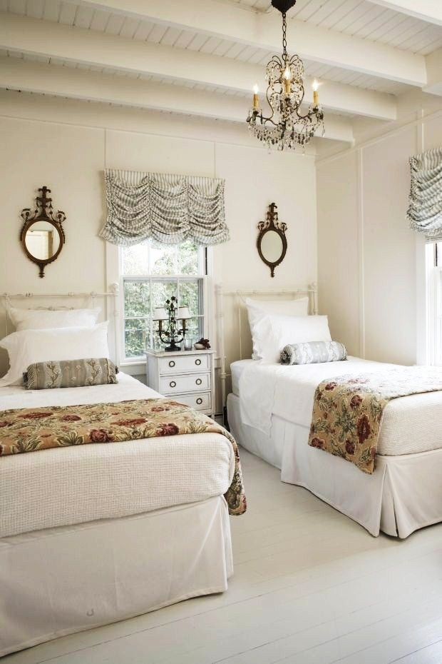 Love rooms with 2 matching twin beds.  They don't need to be exactly the same...but similar. Balance is nice.  Double the beauty.