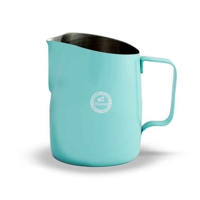 The Tiamo Tapered Stainless Steel Coloured Milk Jug with a 450ml capacity is excellent for households or cafes where 300ml just isnt enough. A thicker setting than basic stainless steel means excellent quality and durability.  The tapered angle and rounded spout makes for top pouring control.  Available in Pink, Teal Blue and Matte Black.