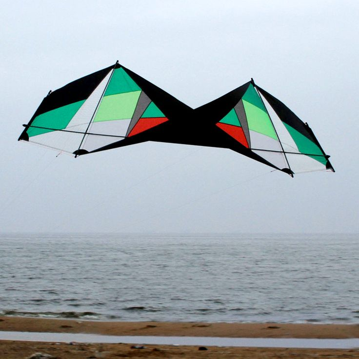 75ft green color ventless quad line stunt kite easy to