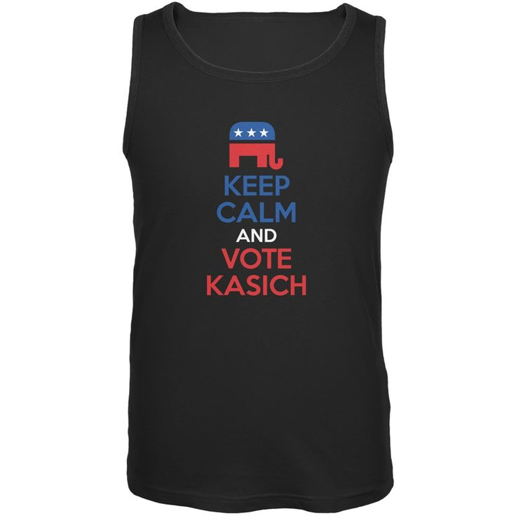 Election 2016 Keep Calm Vote John Kasich Black Adult Tank Top