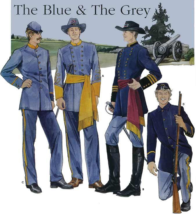 Confederate and Union Soldier Uniforms | Civil War Union & Confederate Soldier Uniform / Costume S7274 Sewing ...