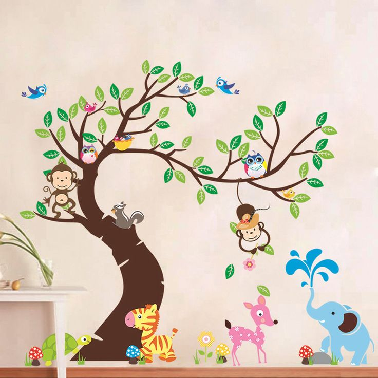 Animal Owl Wall Stickers Monkey Jungle Zoo Tree Nursery Baby Room Decal Mural in Home, Furniture & DIY, Home Decor, Wall Decals & Stickers | eBay