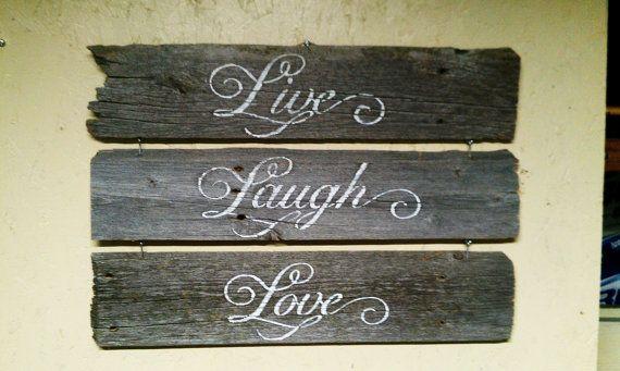 Live Laugh Love Barnwood wall hanging by SecondChanceBarnwood, $25.00