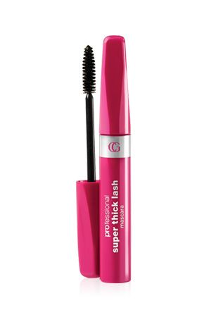 Covergirl Super Thick Lash Mascara. I've used it for at least 25 years. Doesn't clump, smudge or flake off. Washes off easily when you want it to.  Suitable for contact wearers and Sensitive eyes  Smudge-proof