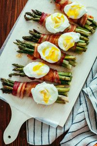 Bacon wrapped asparagus + poached eggs