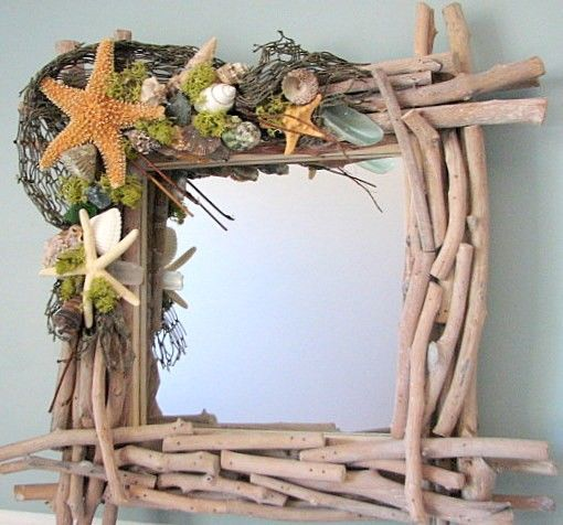 Beach Decor Shell Mirror - Driftwood w Starfish, Moss, & Sea Glass, 18""
