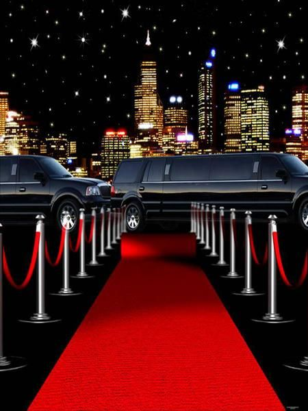 Red Carpet Luxury Car Night Scenery Photography Backdrops