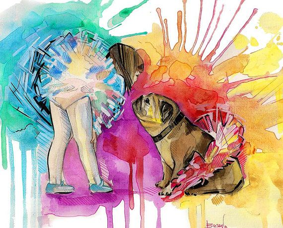 English Bulldog Art Ballerina Painting Colorful Dog by Natalia Basova, BasovaArt
