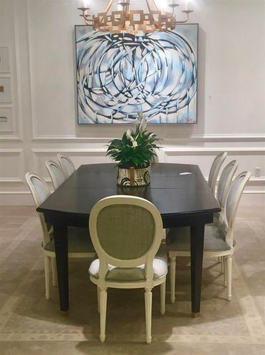 The Carlyle Dining Table From Hollywood Regency Style Collection Is Paired With Custom Finished And Upholstered Octavia Chairs AVE Raw