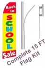 Back To School Sale Swooper Flag Bundle - Includes Swooper flag, Pole, and Ground Spike