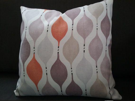 Geometric pillow cover - orange lilac beige grey white pillow - mauve tangerine…