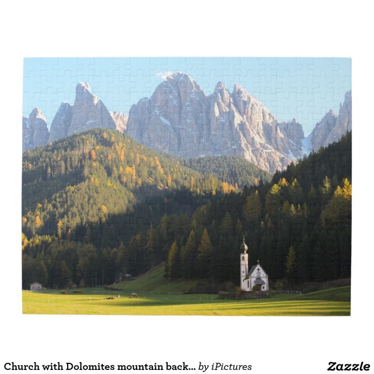 Church with Dolomites mountain background Puzzles