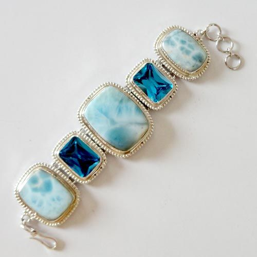 Solid 925 Sterling Silver Bracelet 8.25'' Larimar CZ Gemstone Jewelry-9514