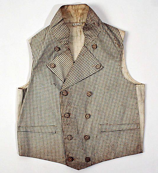 Vest  Date: ca. 1830 Culture: European Medium: linen