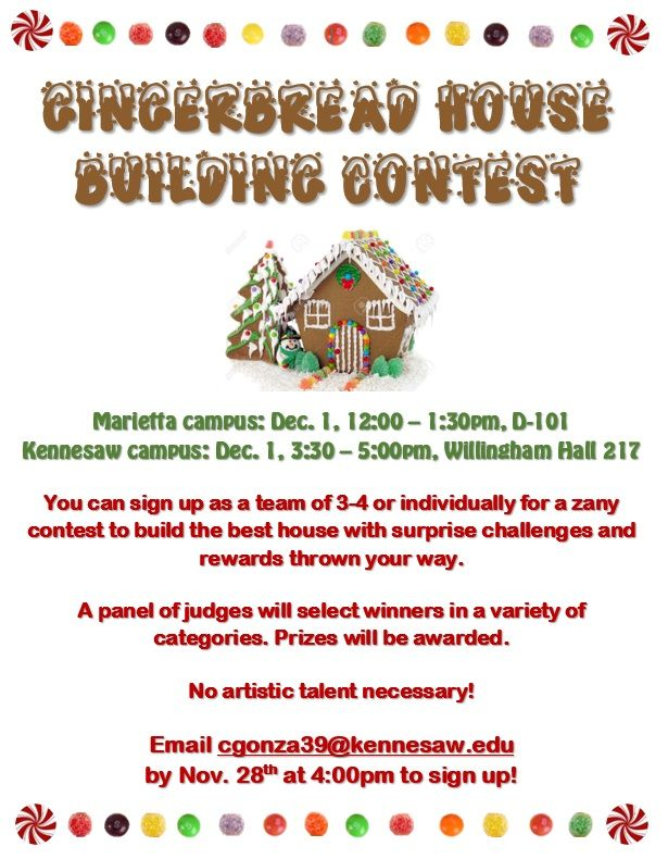 Build the best gingerbread house of the season at the Honors Gingerbread House Building Contest!