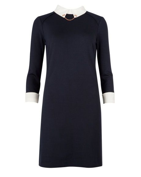 WAHHHHHHH. OH MY GOD. Contrast collar dress - Navy | Dresses | Ted Baker ROW