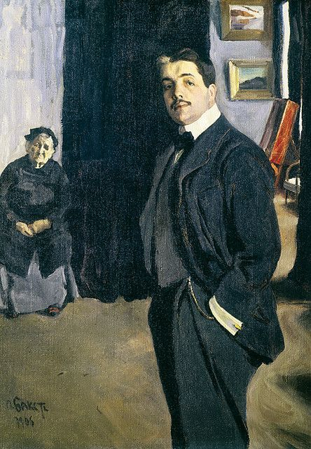 Bakst, Leon (1866-1924) - 1905 Portrait of Sergei Diaghilev and his Nanny by…