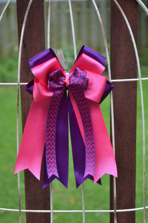 Equestrian Hair Bows Horse Show Bows 2 Bright Pink by OnTheBitBows