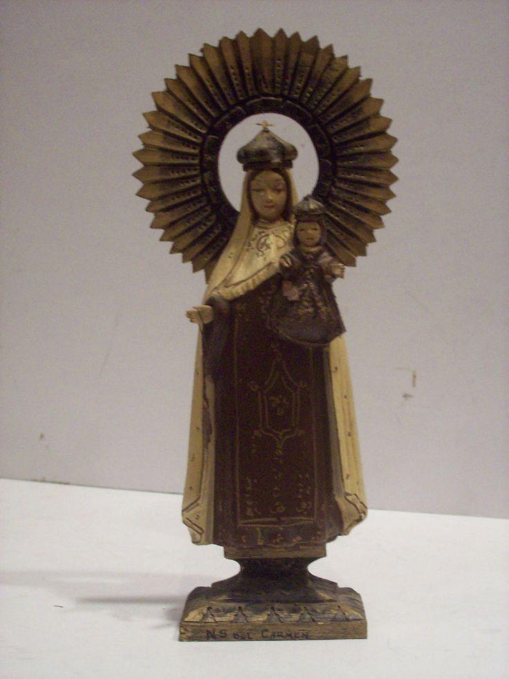 Old Wood Santos Saint Figure Figurine statue Icon Catholic Sanborns Mexico .  Carmen, note the brown scapulars. Probably D Cortez.