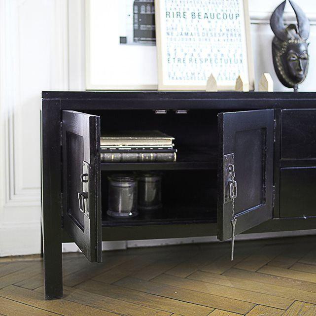amazing meuble tv en bois duacajou noir thaki black with rideaux babou. Black Bedroom Furniture Sets. Home Design Ideas