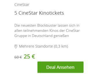 Groupon: Fünferpack Kinotickets für 25 Euro, bei Neukunden nur 15 Euro https://www.discountfan.de/artikel/technik_und_haushalt/groupon-fuenferpack-kinotickets-fuer-25-euro-bei-neukunden-nur-15-euro.php Bei Groupon gibt es ab sofort das Fünferpack Kinotickets für Cinestar zum Schnäppchenpreis von 25 Euro. Neukunden des Gutschein-Portals zahlen nochmals fünf Euro weniger und löhnen somit gerade einmal drei Euro fürs Kinoticket – inklusive Reservierung. Groupon: