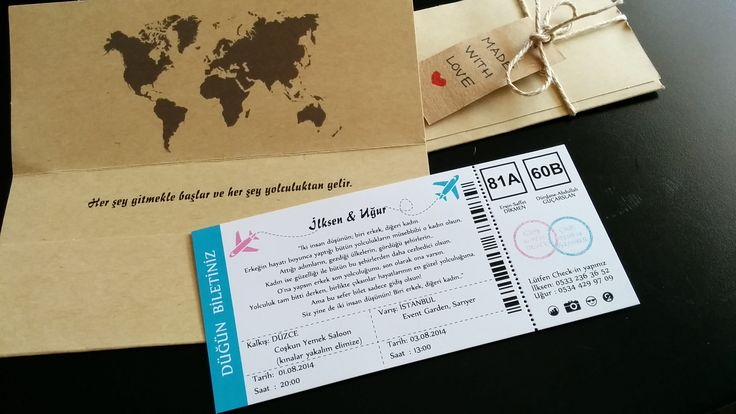wedding invitation, davetiye, boarding pass invitation, düğün davetiyesi, uçak bileti, world map, her şey gitmekle başlar ve her şey yolculuktan gelir, made with love