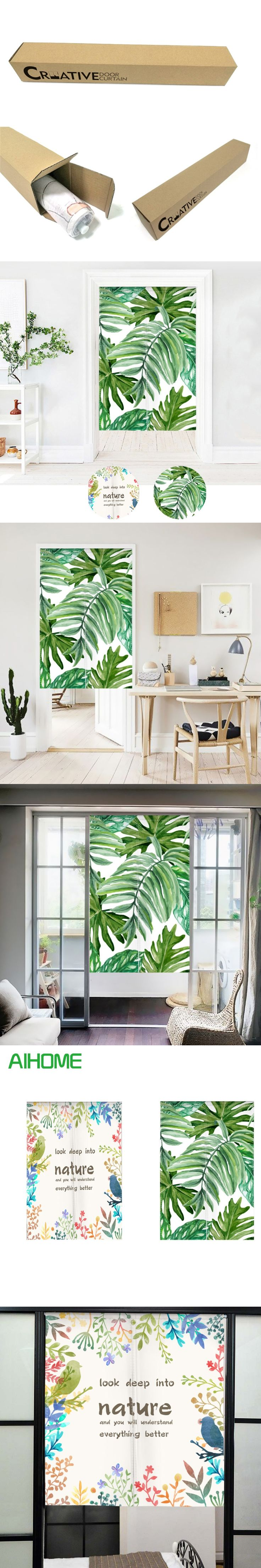 Japanese Style NOREN Curtain Tropical Plants Green Leaves Canvas Door Curtain for Kitchen Store Tapestry 85x100/85X140/85X180cm