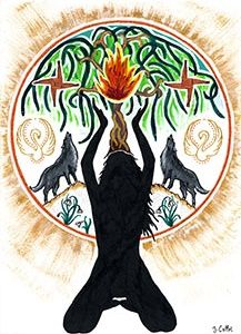 Imbolc The Quickening Goddess Art A4 Size Print by Julie Collet