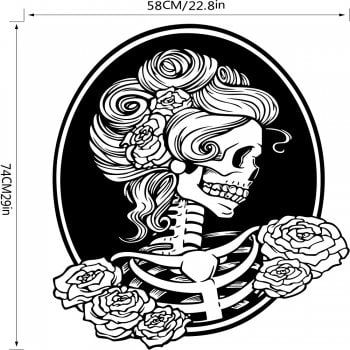 Day of the Dead Girl Skull Head Vinyl Wall Decal Sticker - BLACK