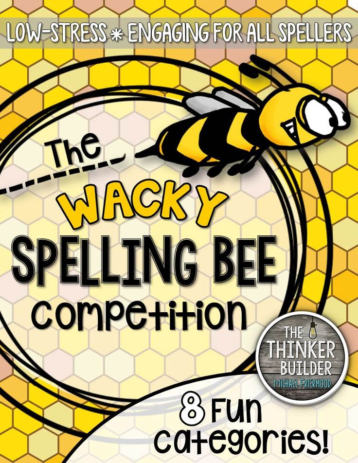"The ""Wacky Spelling Bee"" is a fun spelling competition, designed to be a low-stress, sillier version of a traditional spelling bee. Play in partner-teams. 8 different categories. Word lists included. Gr 2-5 ($)"