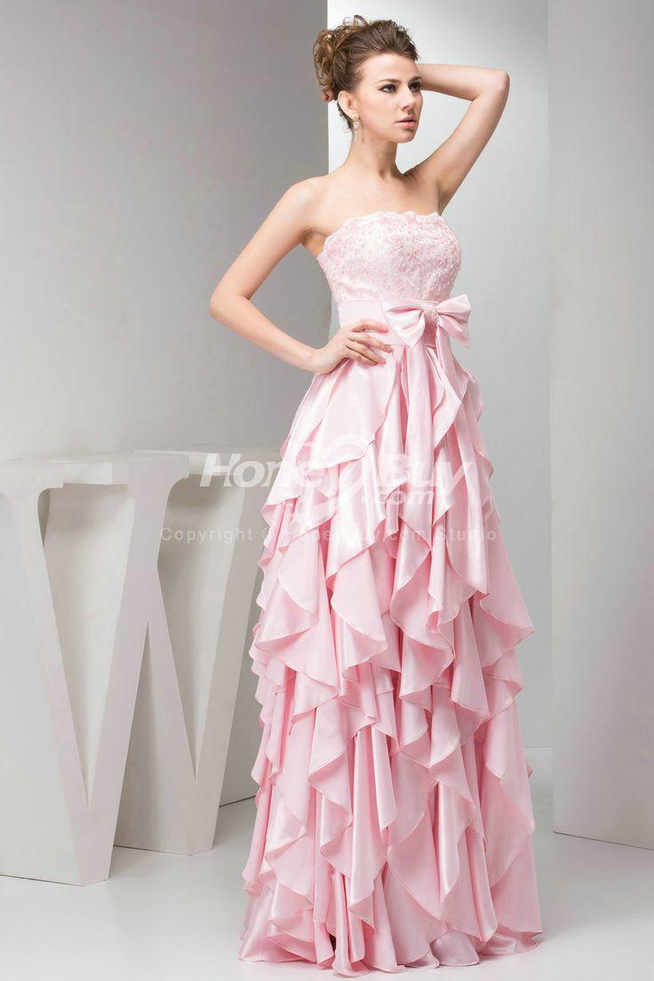 Cute Light Pink Strapless Prom Dresses