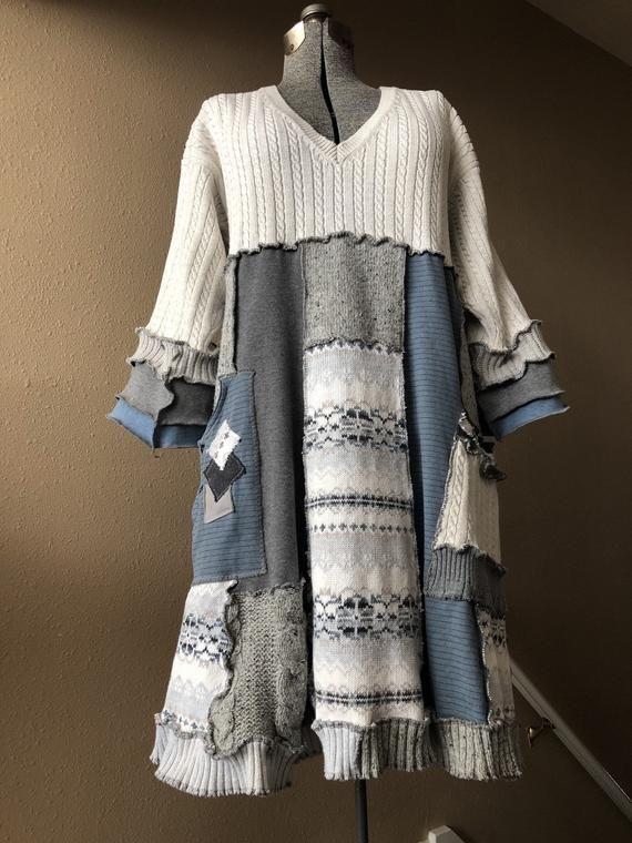 Upcycled Oversized Patchwor Winter Sweater Kleid oder Tunika, Refashioned Dicker Baumwolle Zopfmuster und Fair Isle Patchwork