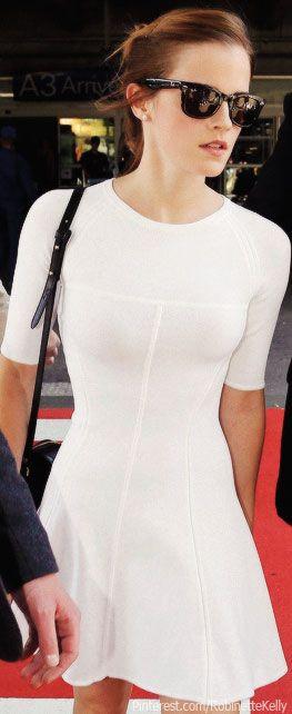 Street Style | Emma Watson little white dress