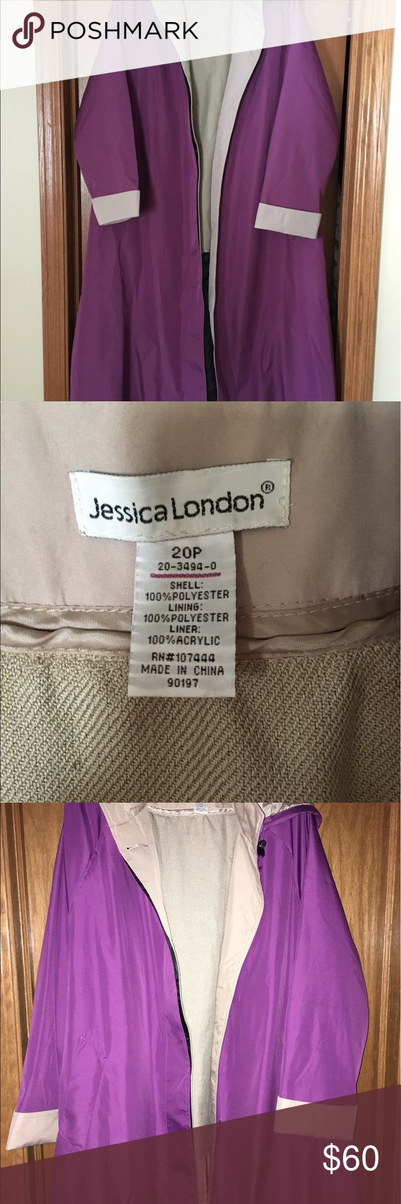 Ladies raincoat A beautiful fully lined (lining is removable) purple in color. The lining makes it a coat for cooler seasons as well as rainy ones. Size is 20P. jessica London Jackets & Coats Trench Coats