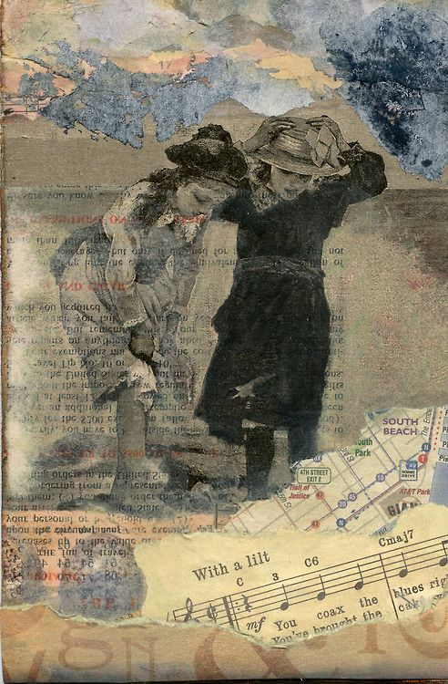 """San Francisco Girls."" Collage with décollage on 5 x 7 canvas board. Laura Tringali Holmes 2012."
