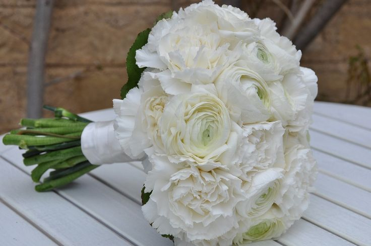 Fluffy white bridal bouquet