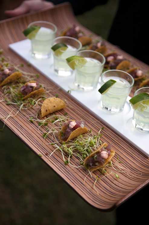 Tiny fish tacos and tiny margarita shots passed around during the reception.