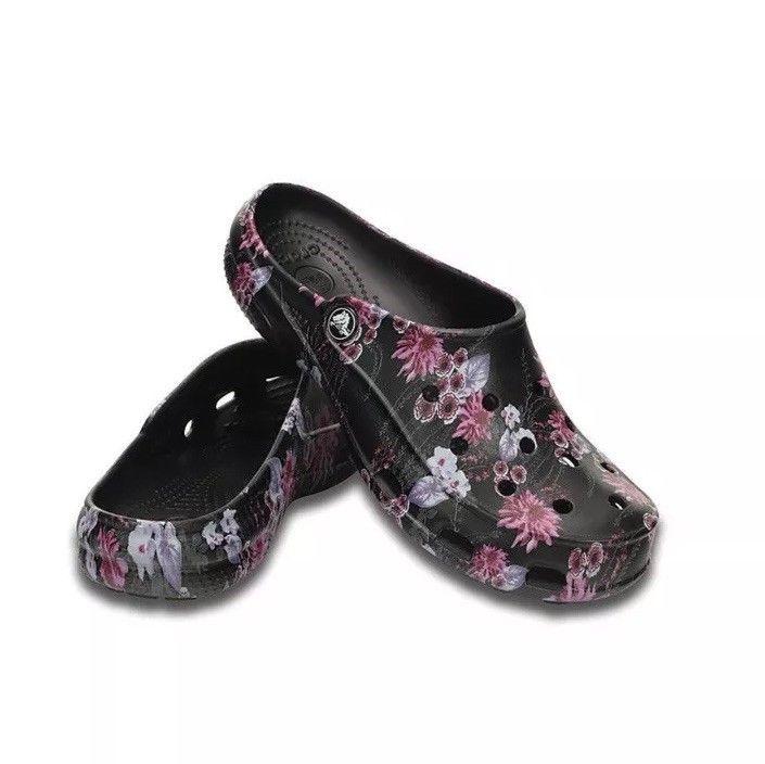 Crocs Womens Freesail Black Pink Floral
