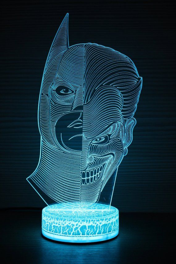 Batman Joker 3d Night Lamp Joker Night Light Home Decor 3d Etsy Night Lamps Night Light 3d Illusions
