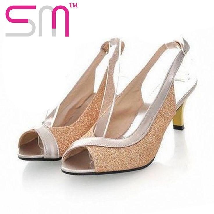 plu size 30-46 medium heels summer sandals for women causal shoes elegant open…